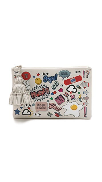 Anya Hindmarch Georgiana Allover Stickers Clutch