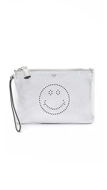 Anya Hindmarch Smiley Zip Top Pouch