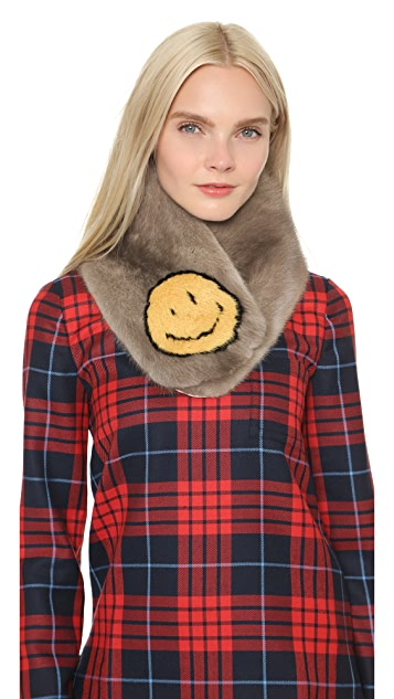 Anya Hindmarch Smiley Mink Scarf