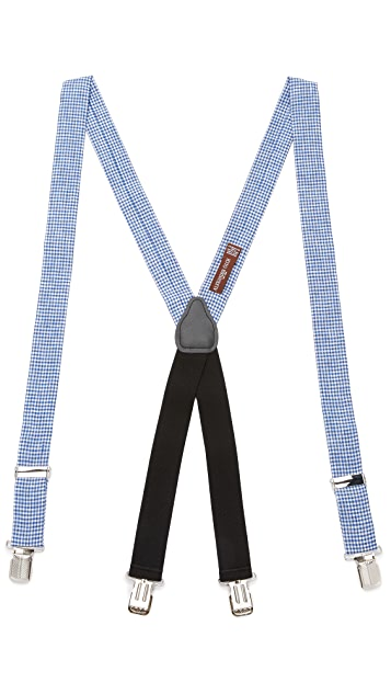 Alexander Olch The Sunrise Linen Gingham Suspenders with Clips