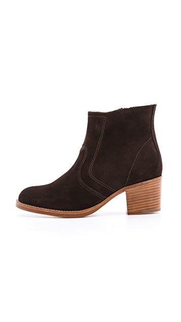 A.P.C. Suede Stacked Heel Booties
