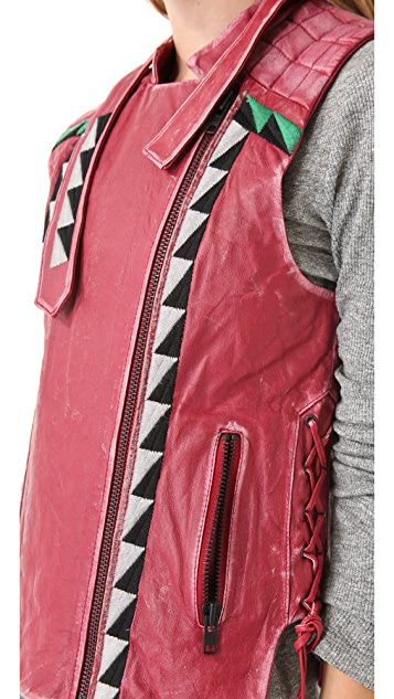 April, May Valeri Leather Vest