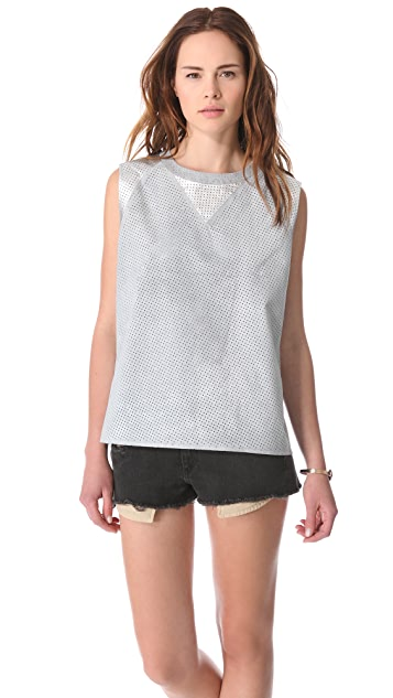 April, May Perforated Leather Top