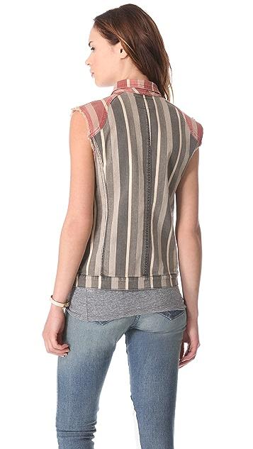 April, May Square Striped Jean Vest