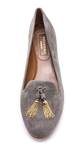 Aquazzura Corsini Slippers with Metallic Tassel