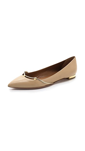 Aquazzura Amelie Chain Trim Flats