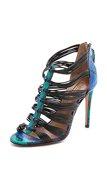 Aquazzura Xena Snakeskin Sandals