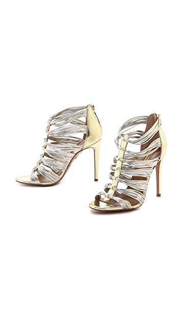 Aquazzura Xena Metallic Cording Sandals