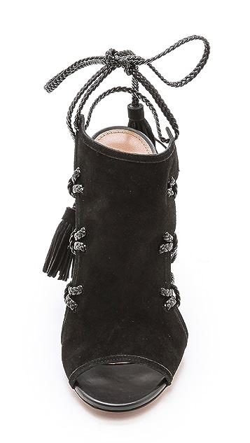 Aquazzura Sahara Braided Lace Up Sandals