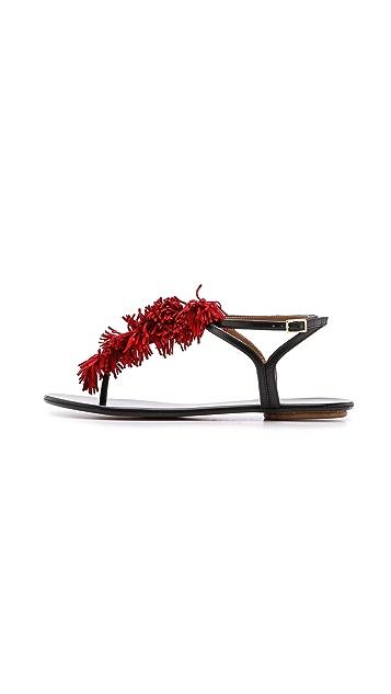 Aquazzura Wild Thing Fringe Flat Sandals