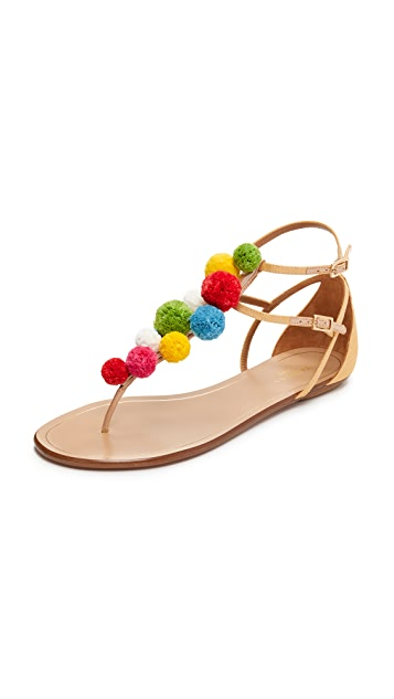 Aquazzura Pom-Pom Thong Sandals free shipping with mastercard sale genuine buy cheap Manchester factory outlet sale online izJKt