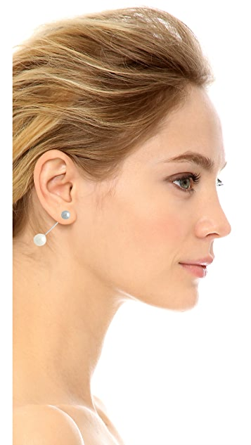 Amber Sceats Bar Imitation Pearl Earring