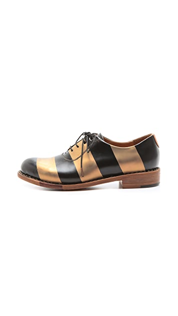 The Office of Angela Scott Mr. Smith Metallic Striped Oxfords