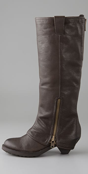 Ash Time Long Cuff Boots with Zipper
