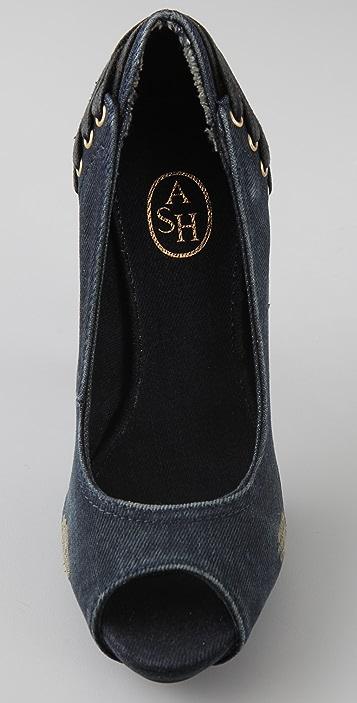Ash Gorgeous Denim Peep Toe Pumps