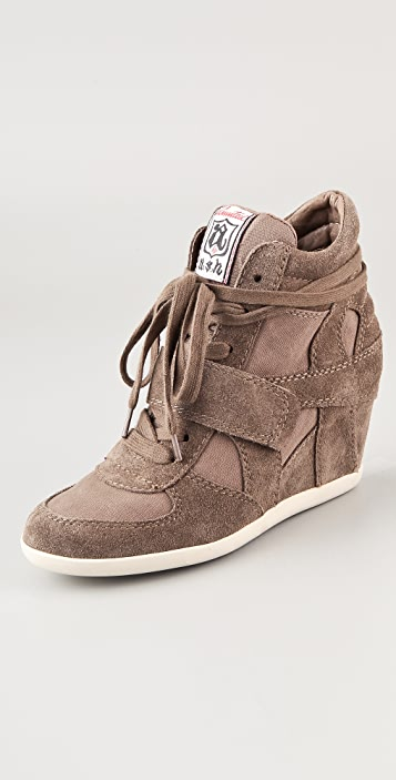 Ash Bowie Suede Lace Up Wedge Sneakers