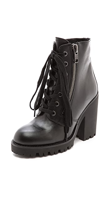 Ash Poker Lace Up Heeled Booties