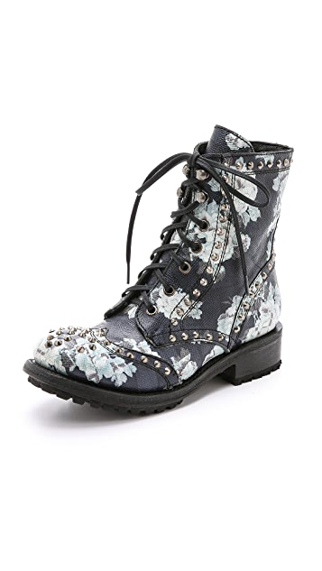 Ash Rare Floral Combat Boots