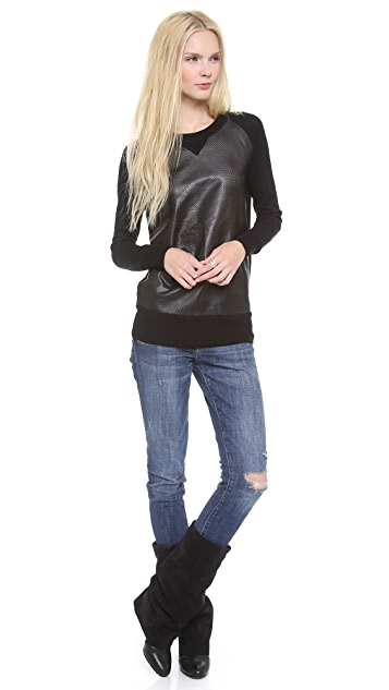 ASTRID Leather Front Sweater