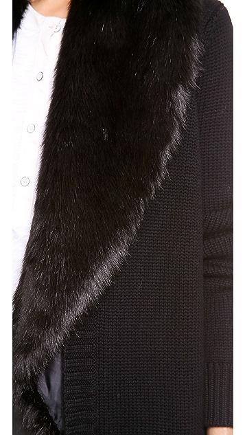 ASTRID Faux Fur Trimmed Cardigan