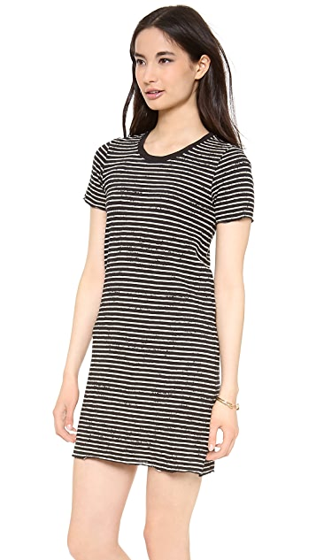 ATM Anthony Thomas Melillo Destroyed Wash Stripe T-Shirt Dress