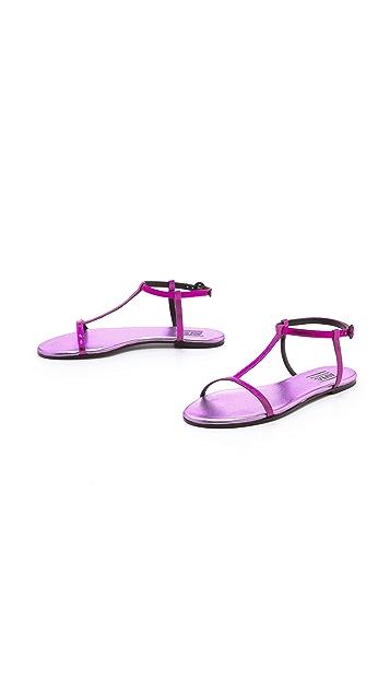 Avec Moderation Metallic T Strap Sandals