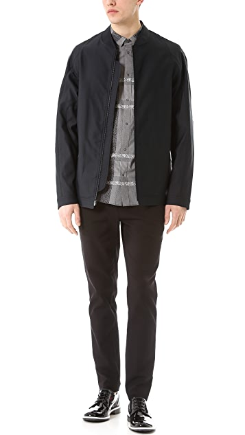 Alexander Wang Zip Front Bomber with Leather Elbow Patches