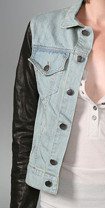 Alexander Wang Faded Denim Jacket with Leather Sleeves