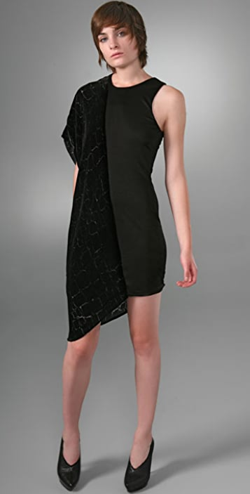 Alexander Wang Burnout Velvet Combo Dress