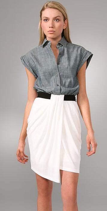 Alexander Wang Denim Oxford Shirt Dress with Rib Combo