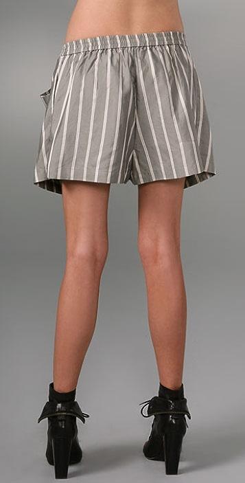 Alexander Wang Men's Silk Shorts with Apron Skirt Overlay