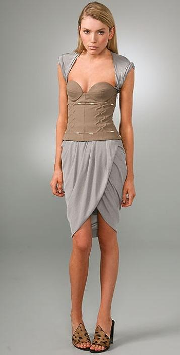 Alexander Wang Khaki Corset Dress