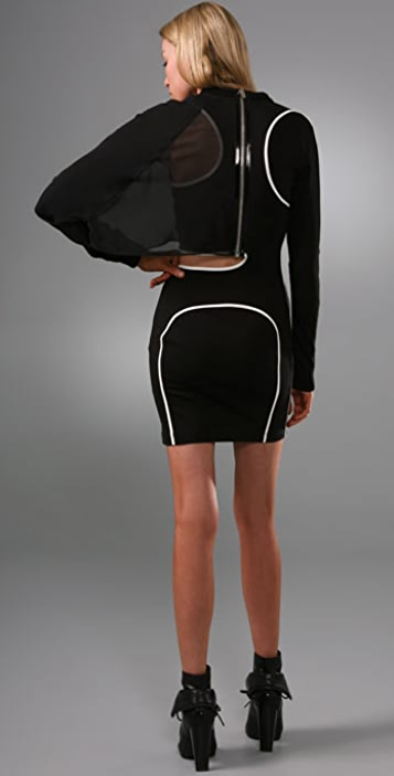 Alexander Wang Asymmetrical Long Sleeve Sweatshirt Dress