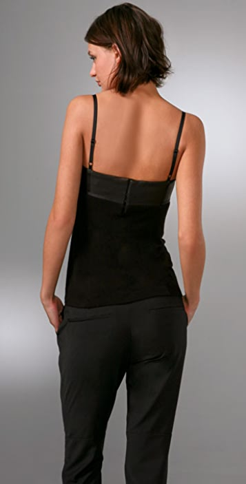 Alexander Wang Fitted Tank with Leather Bustier