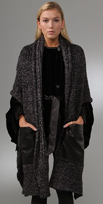 Alexander Wang Heather Wool Scarf with Leather Pockets