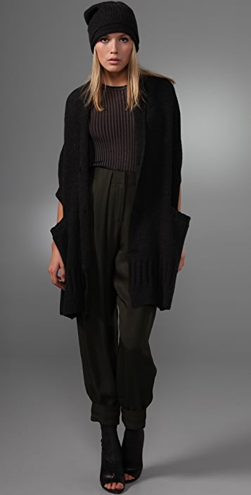 Alexander Wang Ribbed Scarf with Button