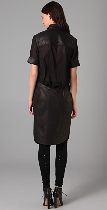 Alexander Wang Leather Shirtdress with Sheer Back