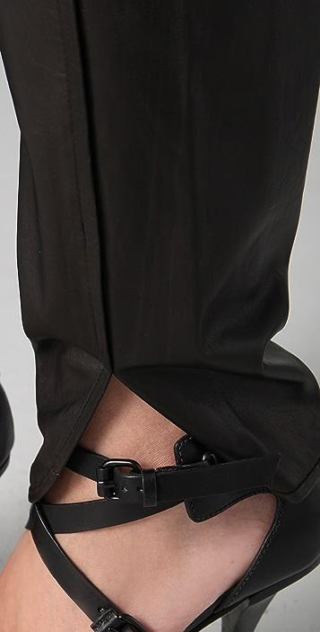 Alexander Wang Leather Track Pants with Cummerbund