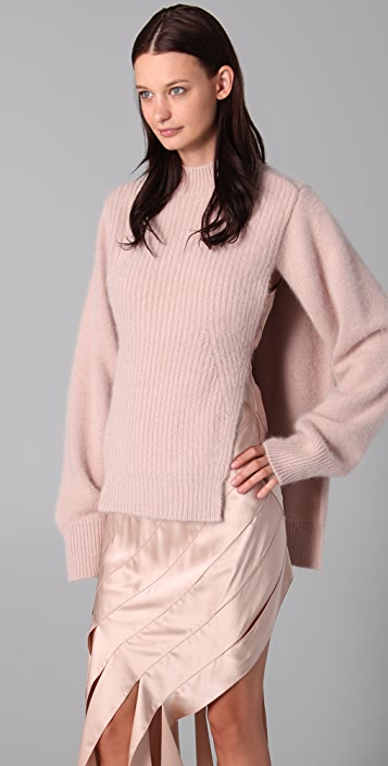 Alexander Wang Furry Mock Neck Sweater with Open Sides