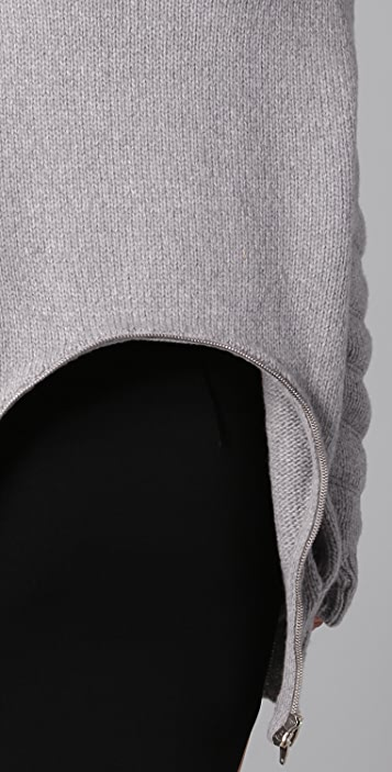 Alexander Wang Quilted Sleeve Sweater with Zip Back Peplum
