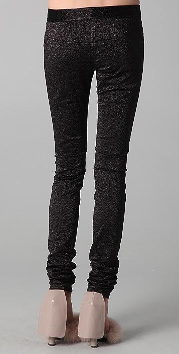 Alexander Wang Drainpipe Metallic Skinny Pants