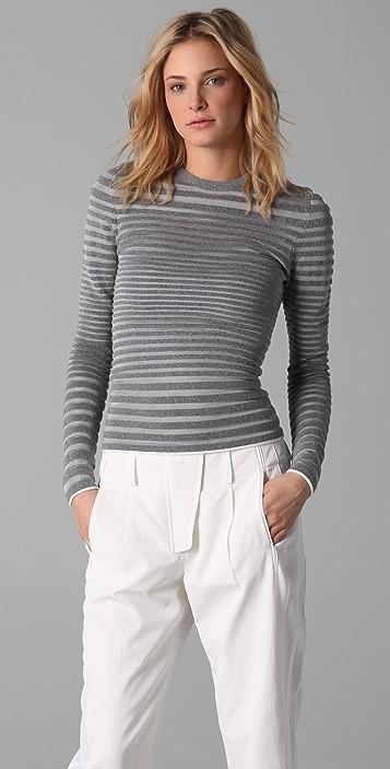 Alexander Wang Engineered Stripe Long Sleeve Top
