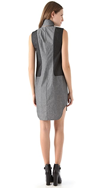 Alexander Wang Marled Cotton Revealed Shirtdress