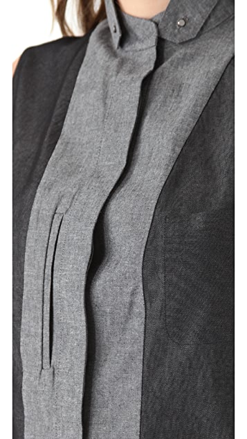 Alexander Wang Marled Cotton Revealed Shirtdress