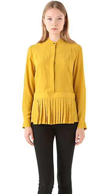 Alexander Wang Tumbled Crepe Shirt with Pleated Apron