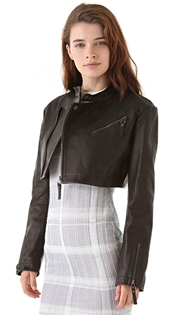 Alexander Wang Cropped Leather Moto Jacket