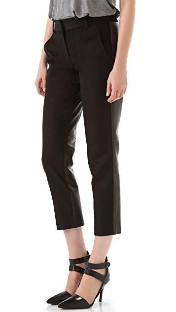 Alexander Wang Cropped Felt & Leather Trousers