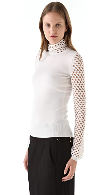 Alexander Wang Magnified Fishnet Turtleneck