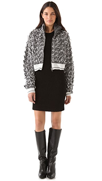Alexander Wang Frayed Tweed Zip Cardigan
