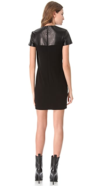Alexander Wang Seamed T-Shirt Dress with Leather